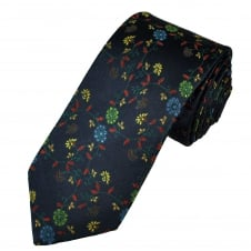 Tresanti Reale Navy, Green, Gold, Red & Royal Blue Flower Patterned Silk Designer Tie
