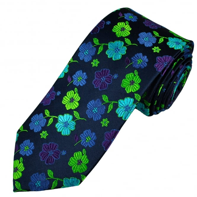 Tresanti Reale Navy, Green, Purple, Turquoise & Royal Blue Flower Patterned Silk Designer Tie