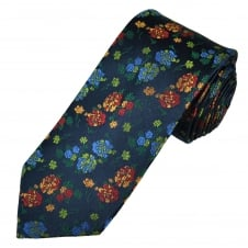 Tresanti Reale Navy, Green, Red, Gold & Royal Blue Flower Patterned Silk Designer Tie