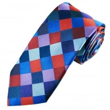 Tresanti Reale Navy, Purple, Lilac, Red & Royal Blue Square Patterned Silk Designer Tie