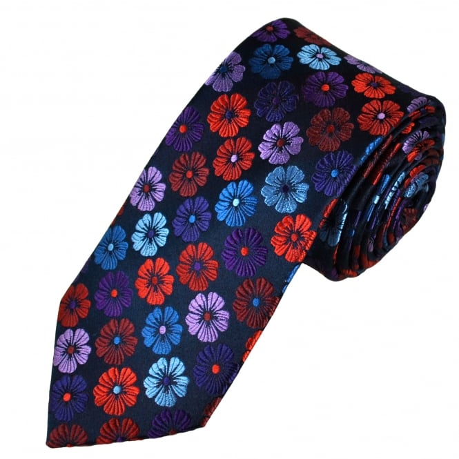Tresanti Reale Navy, Red, Purple, Lilac & Blue Flower Patterned Silk Designer Tie