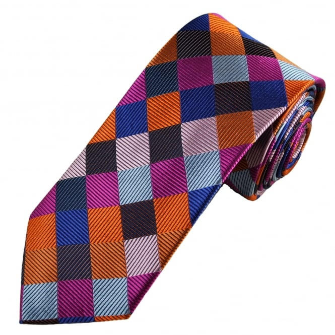 Tresanti Reale Navy, Royal Blue, Orange, Light Pink & Fuchsia Pink Square Patterned Silk Designer Tie