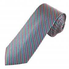 Tresanti Reale Pink, Green, Blue, Silver & Orange Zig Zag Striped Patterned Silk Designer Tie