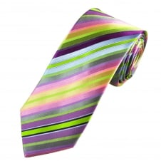 Tresanti Reale Pink, Green & Purple Striped Silk Designer Tie