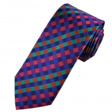 Tresanti Reale Pink, Purple, Royal Blue, Turquoise & Orange Checked Silk Designer Tie
