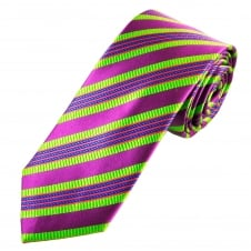 Tresanti Reale Plum, Green, Royal Blue & Coral Pink Striped Silk Designer Tie