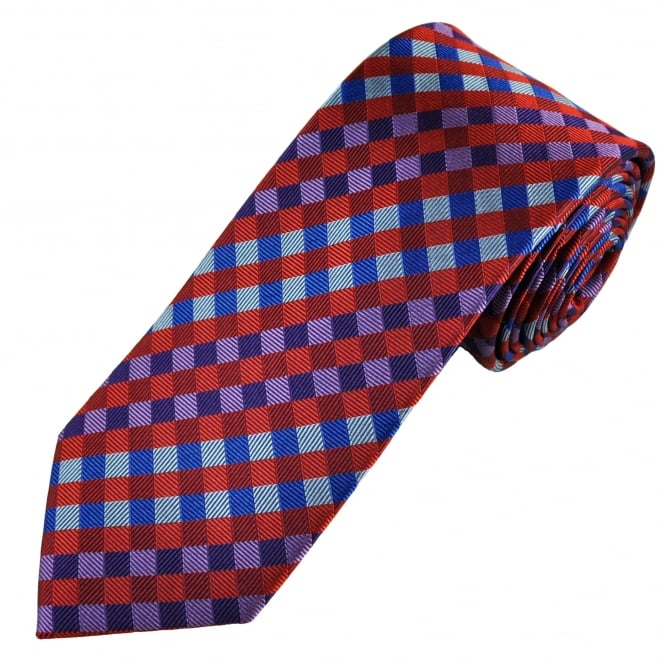 Tresanti Reale Purple, Lilac, Red, Light Blue & Royal Blue Checked Silk Designer Tie