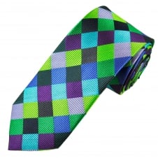 Tresanti Reale Purple, Lilac, Turquoise, Green, Royal Blue & Black Checked Silk Designer Tie