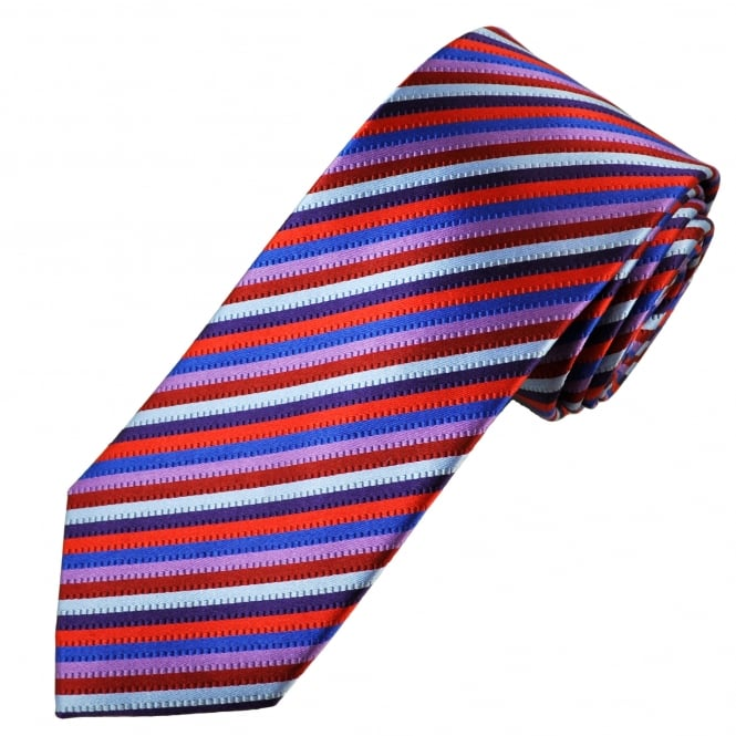 Tresanti Reale Purple, Red, Grey & Navy Blue Striped Silk Designer Tie