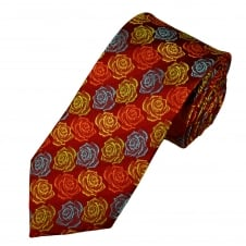 Tresanti Reale Red, Blue, Orange & Yellow Roses Pattern Silk Designer Tie