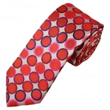 Tresanti Reale Red, Coral Pink, Navy Blue & Fuchsia Pink Circles Patterned Silk Designer Tie