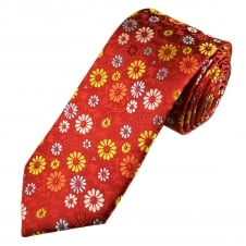 Tresanti Reale Red, Gold, Orange, Silver & Light Blue Flower Patterned Silk Designer Tie