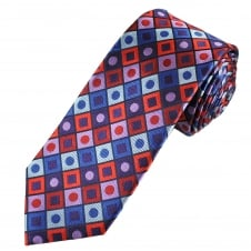 Tresanti Reale Royal Blue, Silver, Purple, Lilac & Red Square & Dot Patterned Silk Designer Tie