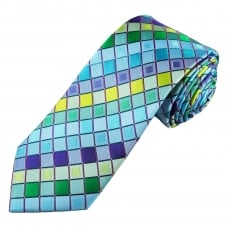 Tresanti Reale Shades Of Blue, Green, Yellow & Purple Square Patterned Silk Designer Tie