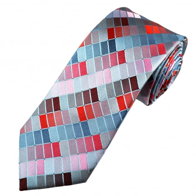 Tresanti Reale Shades Of Blue, Grey, Red & Pink Rectangle Patterned Silk Designer Tie