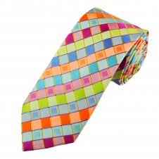 Tresanti Reale Shades Of Blue, Orange, Green & Fuchsia Pink Square Patterned Silk Designer Tie