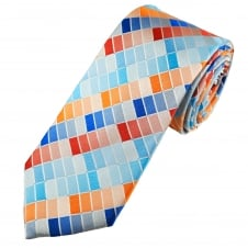 Tresanti Reale Shades Of Blue, Orange & Red Rectangle Patterned Silk Designer Tie