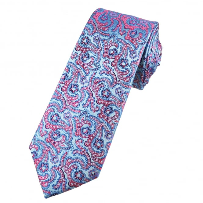 Tresanti Reale Shades Of Blue & Pink Paisley Patterned Silk Designer Tie