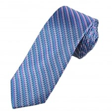 Tresanti Reale Shades Of Blue, Pink & Silver Zig Zag Patterned Silk Designer Tie