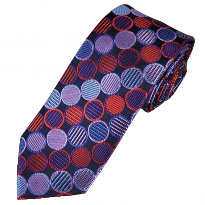 Tresanti Reale Shades Of Blue, Purple, Lilac & Red Circles Patterned Silk Designer Tie