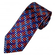 Tresanti Reale Shades Of Blue, Red & Purple Checked Silk Designer Tie