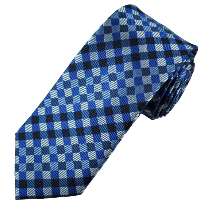 Tresanti Reale Shades Of Blue & Silver Checked Silk Designer Tie