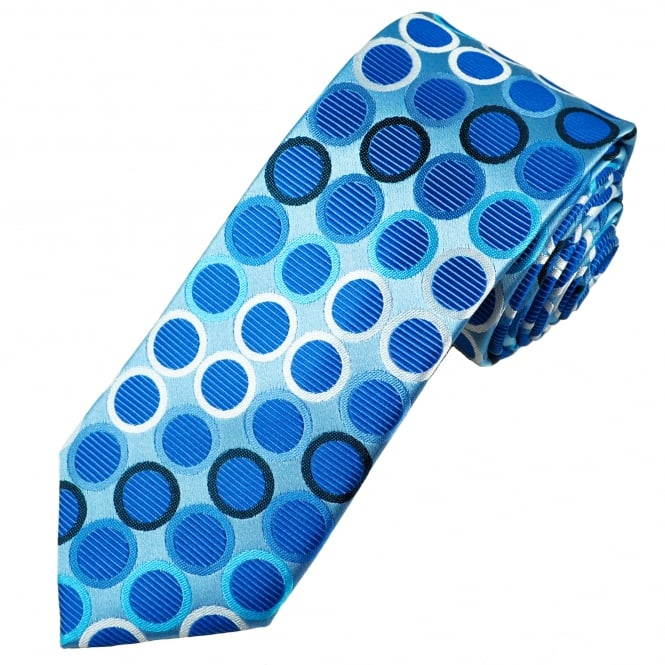 Tresanti Reale Shades Of Blue & Silver Circles Patterned Silk Designer Tie