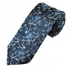 Tresanti Reale Shades Of Blue & Silver Flower Patterned Silk Designer Tie