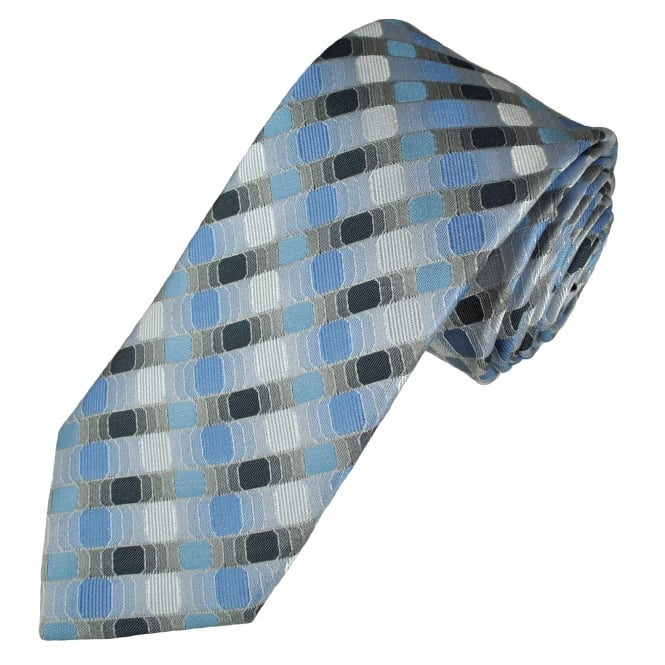 Tresanti Reale Shades Of Blue, Silver & Grey Patterned Silk Designer Tie