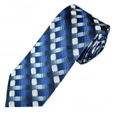 Tresanti Reale Shades Of Blue & Silver Patterned Silk Designer Tie