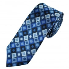 Tresanti Reale Shades Of Blue Square & Dot Patterned Silk Designer Tie