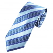 Tresanti Reale Shades Of Blue Striped Silk Designer Tie