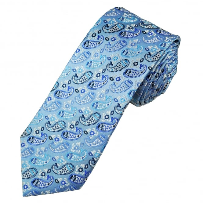 Tresanti Reale Shades Of Blue & White Paisley Patterned Silk Designer Tie