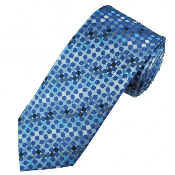 Tresanti Reale Shades Of Blue & White Polka Dot Silk Designer Tie