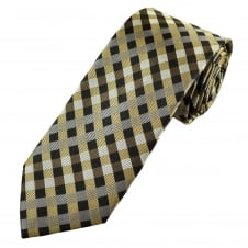 Tresanti Reale Shades Of Brown Checked Silk Designer Tie