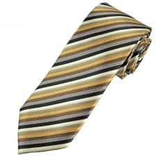 Tresanti Reale Shades Of Brown, Gold & Beige Striped Silk Designer Tie