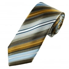 Tresanti Reale Shades Of Brown, Silver & Blue Striped Silk Designer Tie
