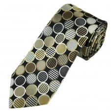 Tresanti Reale Shades Of Brown & Silver Circles Pattern Silk Designer Tie