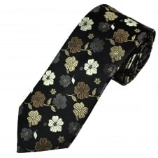 Tresanti Reale Shades Of Brown & Silver Flower Patterned Silk Designer Tie