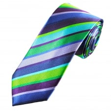 Tresanti Reale Shades Of Green, Blue & Purple Striped Silk Designer Tie