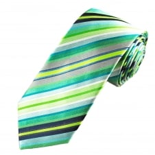 Tresanti Reale Shades Of Green, Blue & Silver Striped Patterned Silk Designer Tie