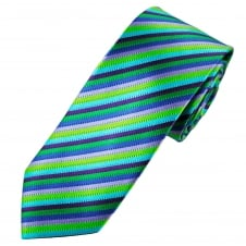 Tresanti Reale Shades Of Green, Lilac, Purple & French Navy Striped Silk Designer Tie