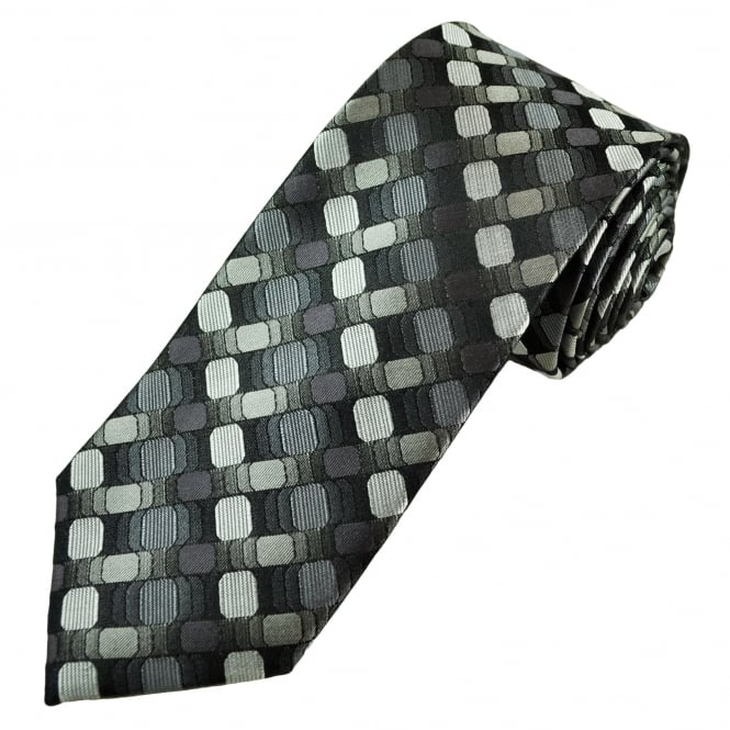 Tresanti Reale Shades Of Grey, Black & Silver Patterned Silk Designer Tie