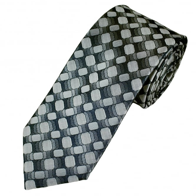Tresanti Reale Shades Of Grey & Silver Patterned Silk Designer Tie