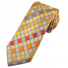 Tresanti Reale Shades Of Orange, Gold, Red & Grey Square Patterned Silk Designer Tie