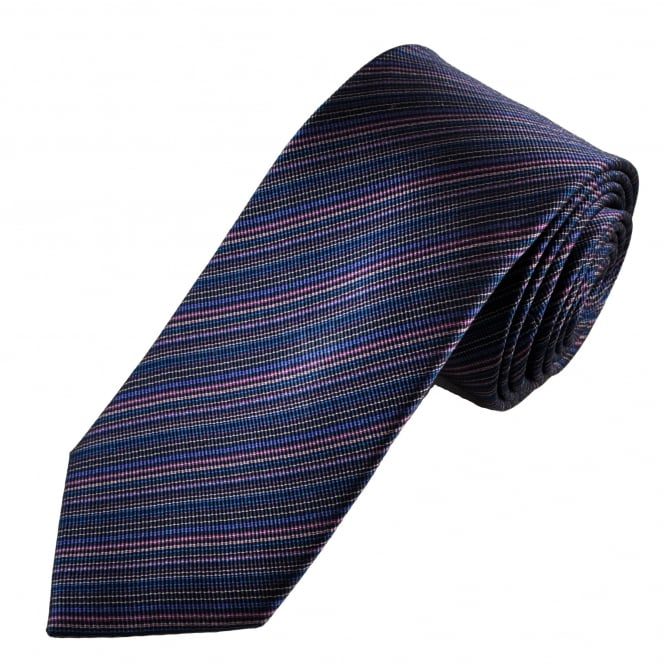 Tresanti Reale Shades Of Pink, Black & Navy Blue Striped Silk Designer Tie
