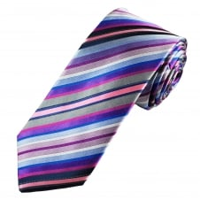 Tresanti Reale Shades Of Pink, Blue, Silver & Grey Striped Silk Designer Tie