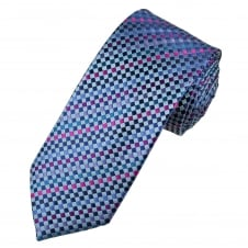 Tresanti Reale Shades Of Purple, Pink, Blue & Silver Checked Silk Designer Tie