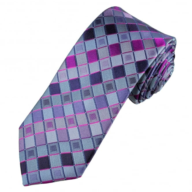 Tresanti Reale Shades Of Purple & Pink Square Patterned Silk Designer Tie
