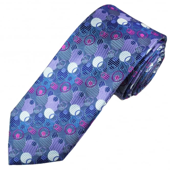 Tresanti Reale Shades Of Purple, Silver & Fuchsia Pink Circles Patterned Silk Designer Tie